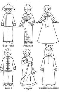 Раскраска - Национальные костюмы. Народы мира